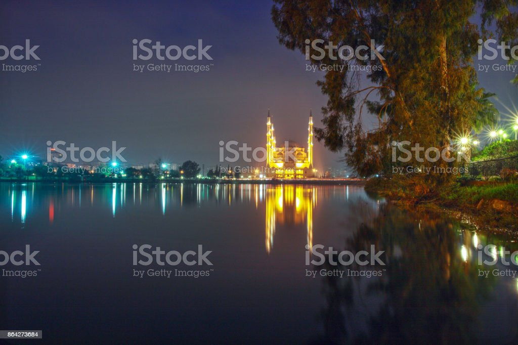 Sabanci Central Mosque, and Seyhan River at Night - Adana Turkey royalty-free stock photo
