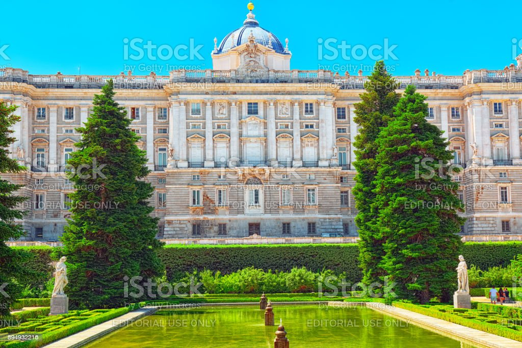 Sabatini Gardens (Jardines de Sabatini) and building of   Royal Palace in Madrid.