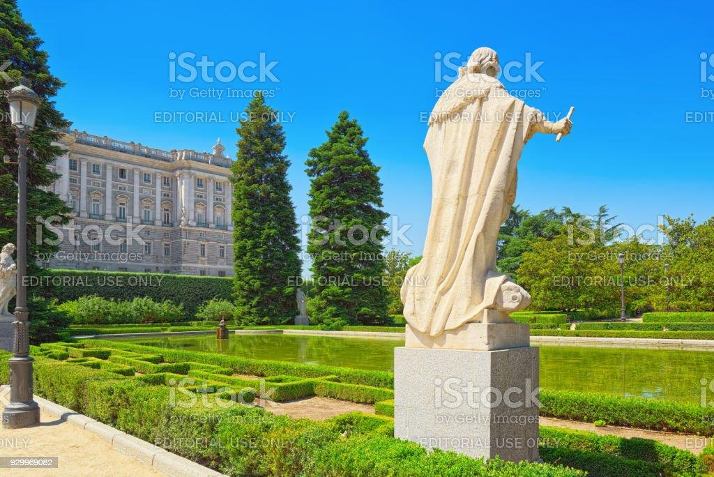 Sabatini Gardens (Jardines de Sabatini) and building of   Royal Palace in Madrid, Spain.