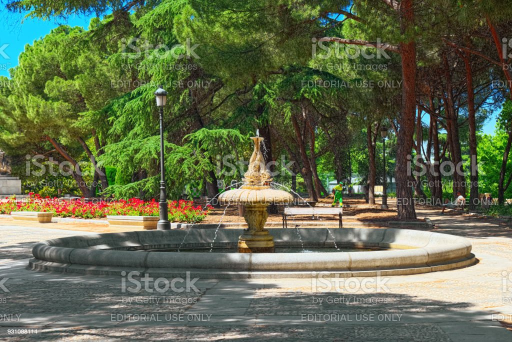Sabatini Gardens (Jardines de Sabatini) are part of the Royal Palace in Madrid, Spain, and were opened to the public by King Juan Carlos I in 1978. stock photo