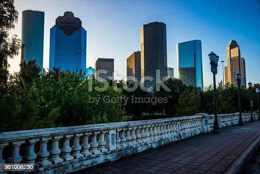 542727462 istock photo Sabine Street Bridge and Morning sunshine Houston Texas Skyline Cityscape 981006230