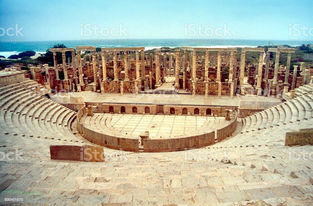 Sabratha, Libya: the theater and the sea stock photo