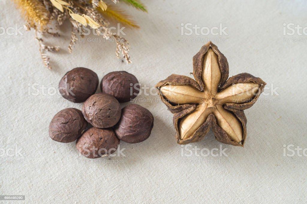 Sacha inchi peanut seed on white background. stock photo
