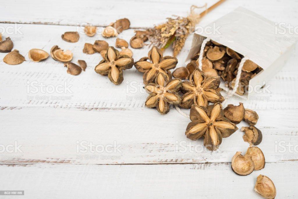 Sacha inchi peanut seed on white wooden background. stock photo