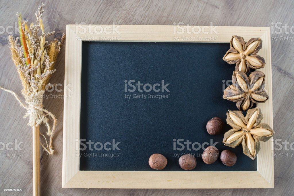 Sacha inchi peanut seeds on blackboard. To eat as medicine or processed into products. stock photo