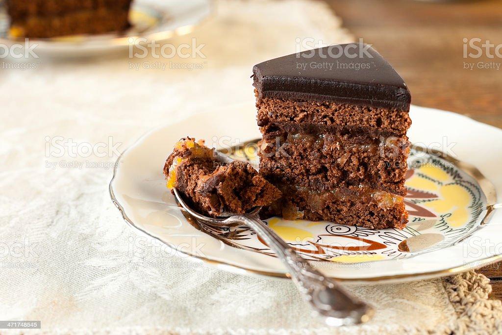 Sacher chocolate cake stock photo