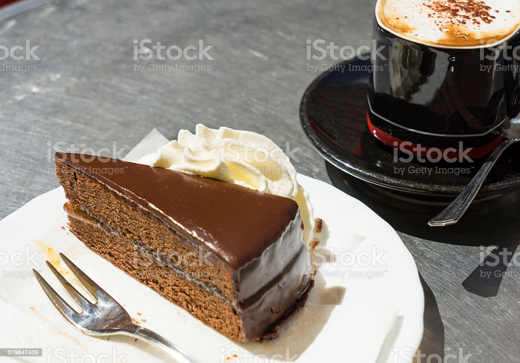 Sacher torte Chocolate cake stock photo