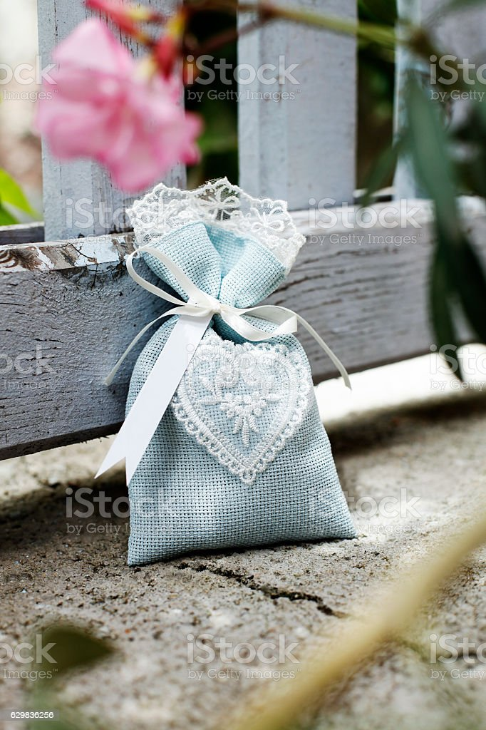 Sachet with dried lavender,Packet, stock photo