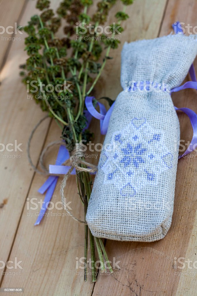 Sachet with ukrainian embroidery royalty-free stock photo