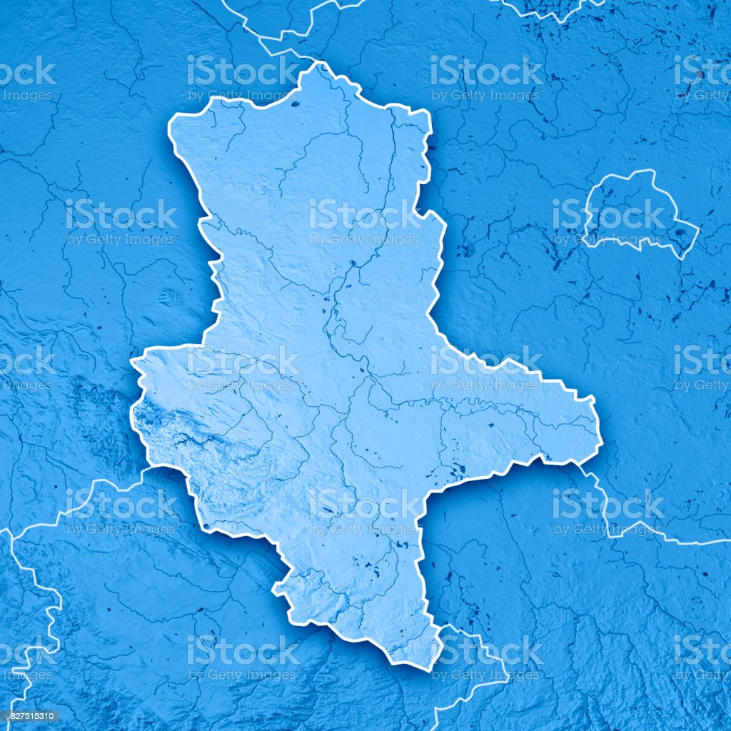 sachsen anhalt bundesland germany 3d render topographic map blue border royalty free stock photo