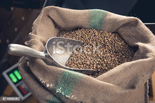 istock Sack full of unroasted green grains 874888082