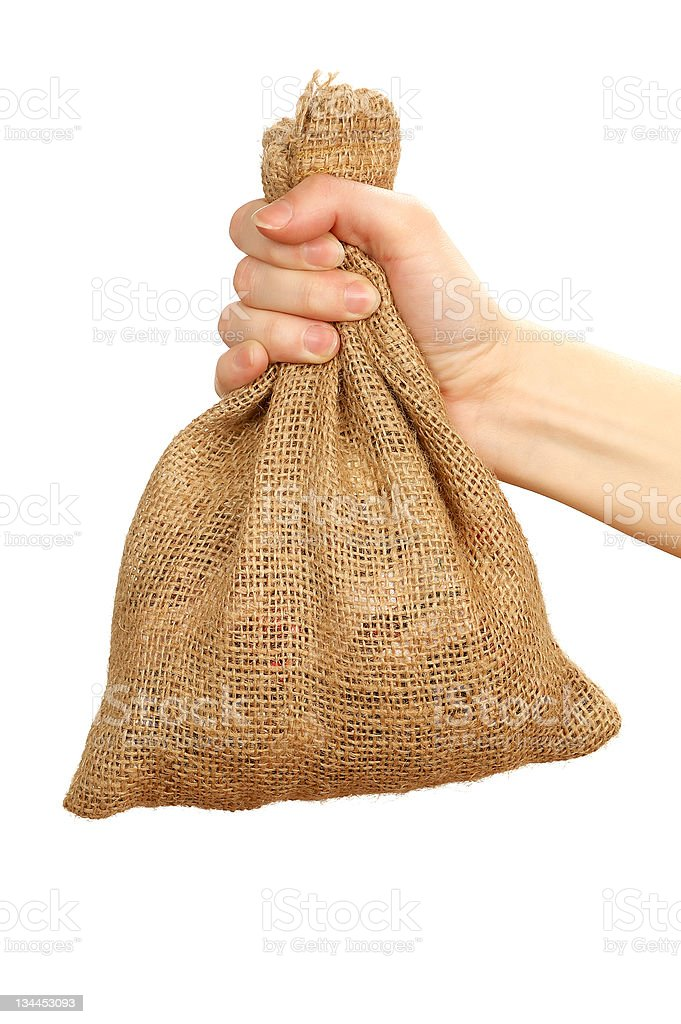 Sack in the hand royalty-free stock photo