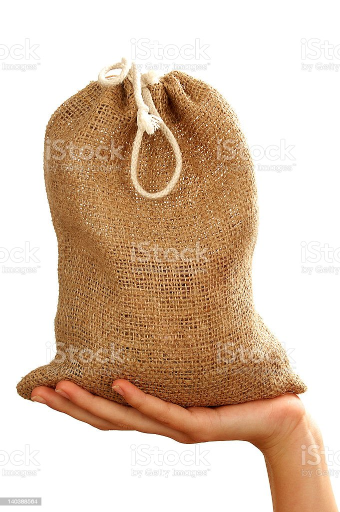 Sack in the hands royalty-free stock photo