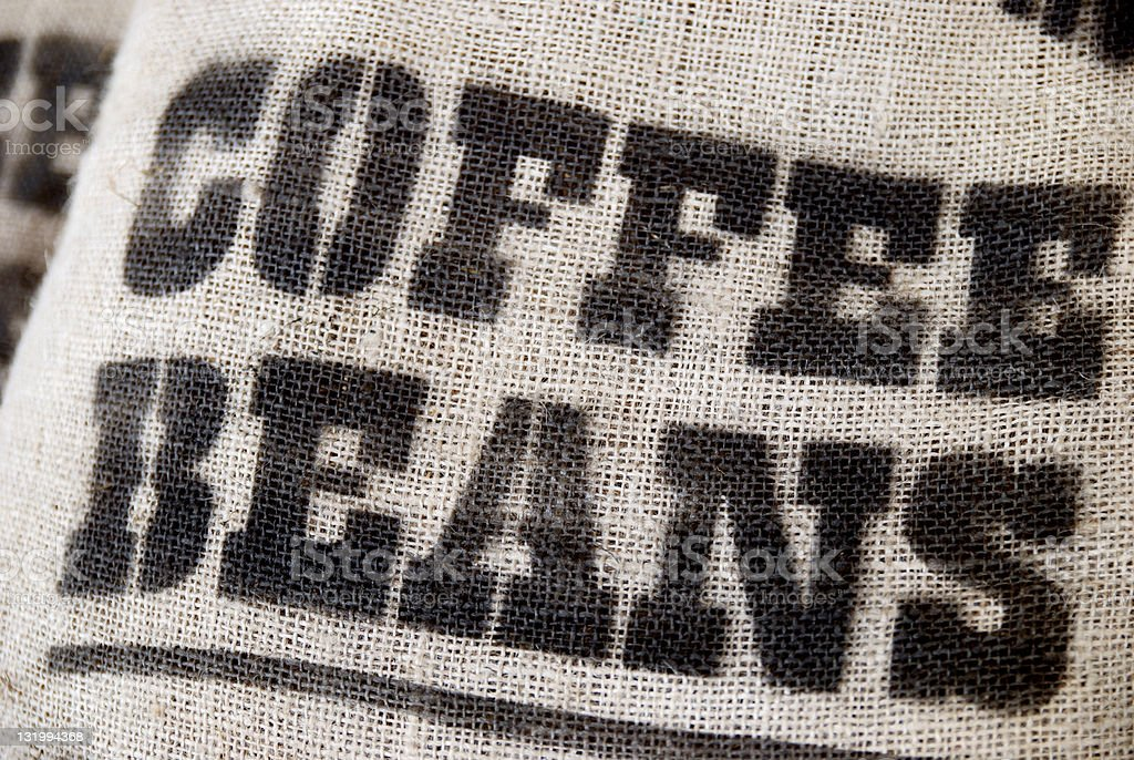 Sack of colombian coffee beans royalty-free stock photo