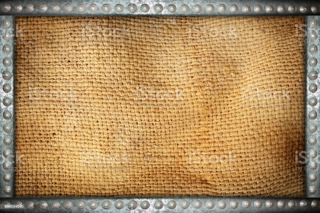 sack texture with metal rivets background frame stock photo