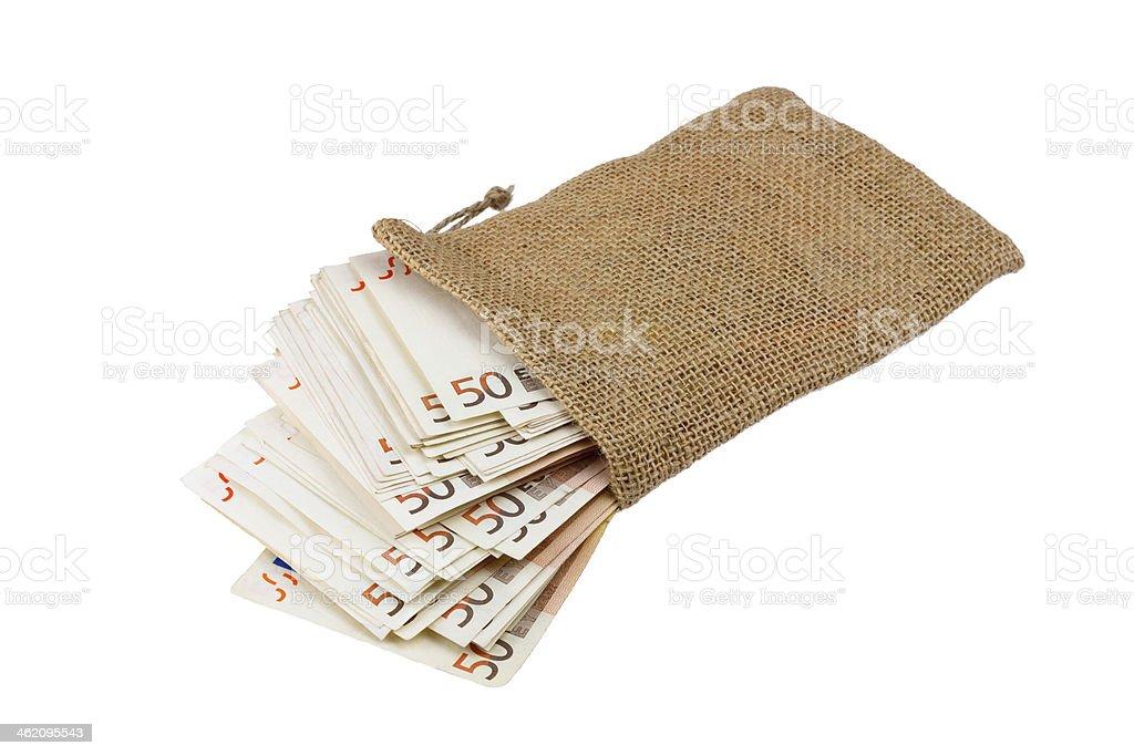 sack voller banknoten stock photo