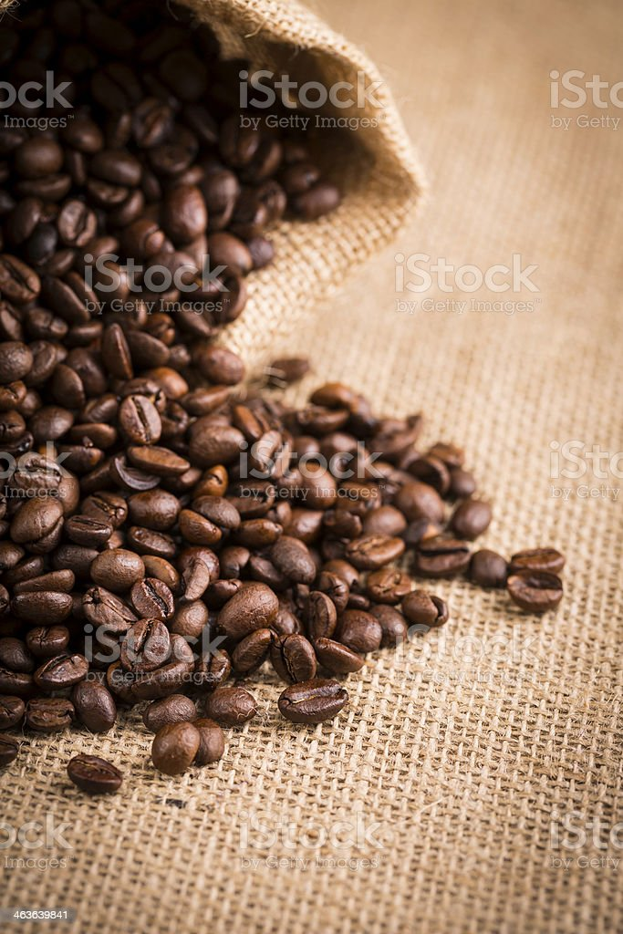 sack with coffee beans stock photo