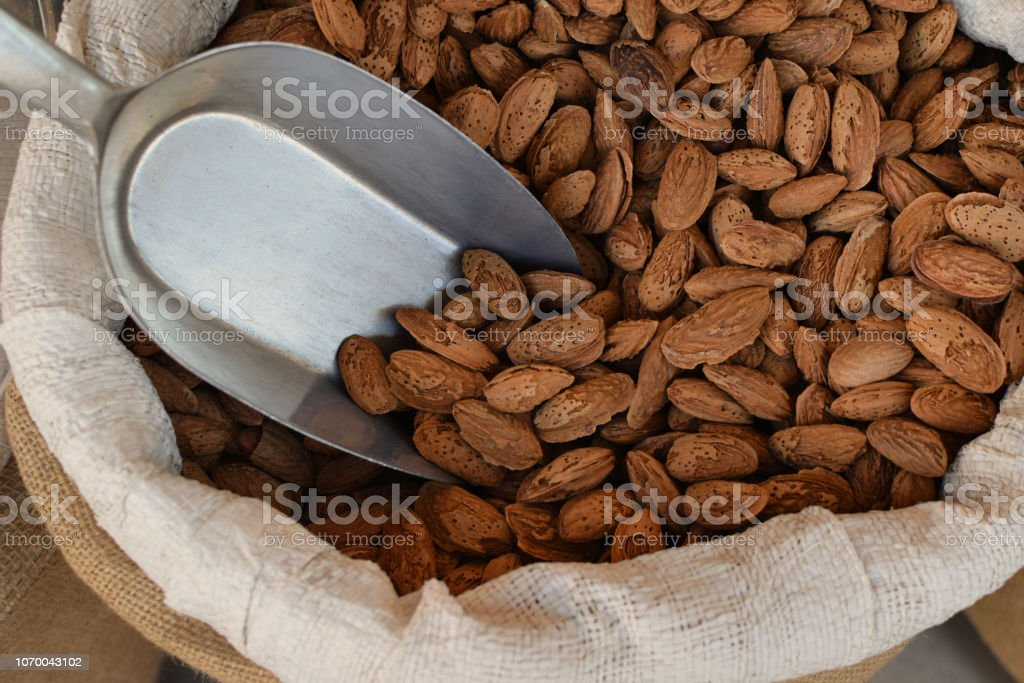 Sack with fresh almonds in shell stock photo