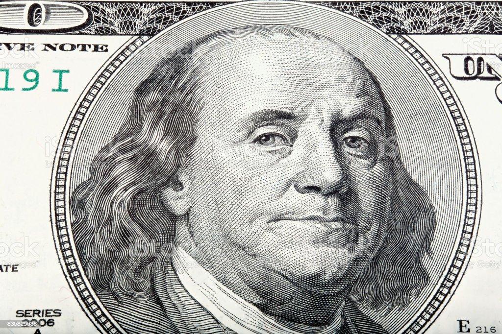 Sacked macro portrait of Benjamin Franklin stock photo