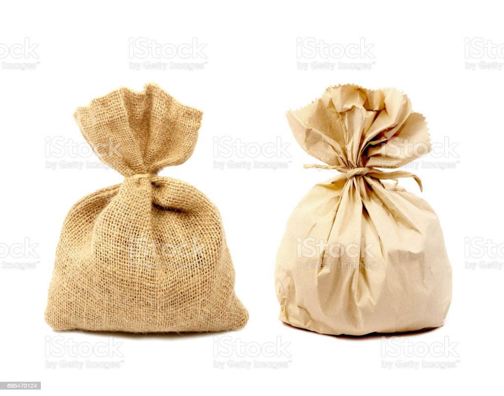 Sacks bag and paper bag isolated on white background. stock photo
