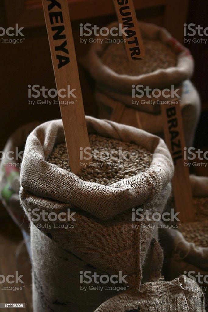Sacks of Coffee Beans royalty-free stock photo