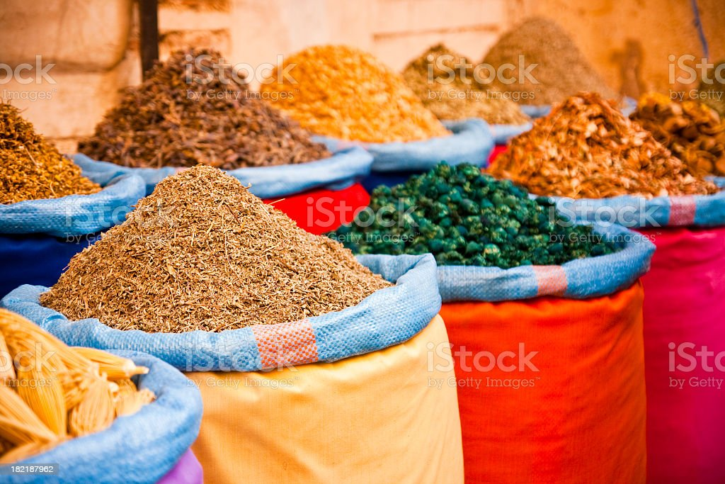 Sacks with a wide variety of sauces and food royalty-free stock photo