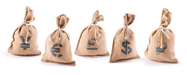 sacks with money stock photo