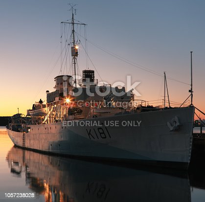 HALIFAX, CANADA - JULY 09, 2012: HMCS Sackville. HMCS Sackville served in both the Royal Canadian Navy and later as a research ship. She is now a museum piece in Halifax, NS and the last surviving Flower-class corvette.