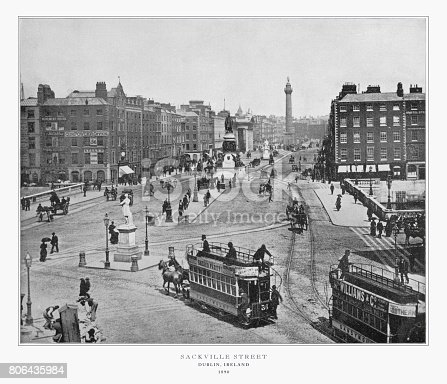 Antique Ireland Photograph: Sackville Street, Dublin, Ireland, 1893. Source: Original edition from my own archives. Copyright has expired on this artwork. Digitally restored.