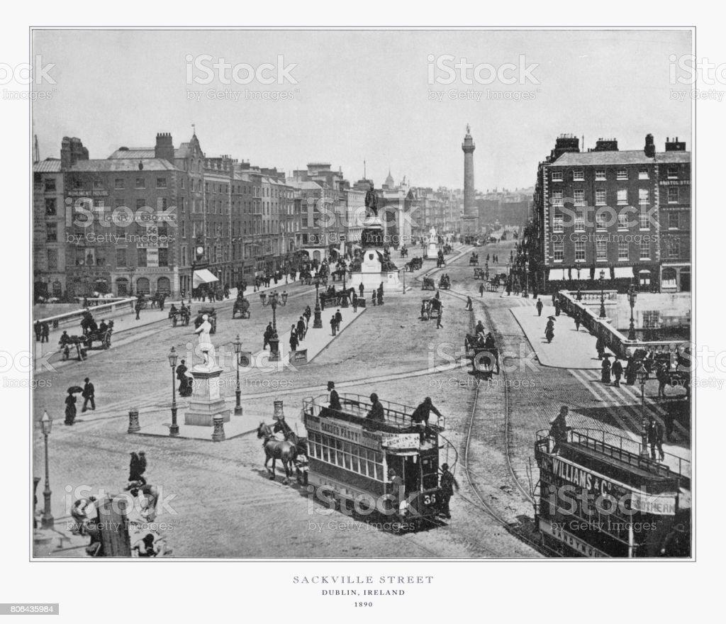 Sackville Street, Dublin, Ireland, Antique Ireland Photograph, 1893 stock photo