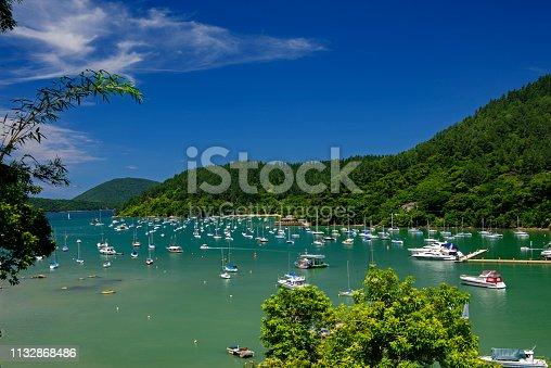 Leisure boats anchored in Saco da Ribeira on the coast of Ubatuba in southeastern Brazil