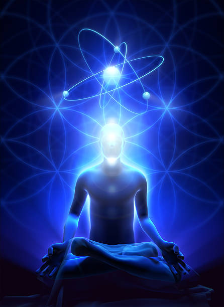 sacral geometry and meditation of man - aura stock photos and pictures