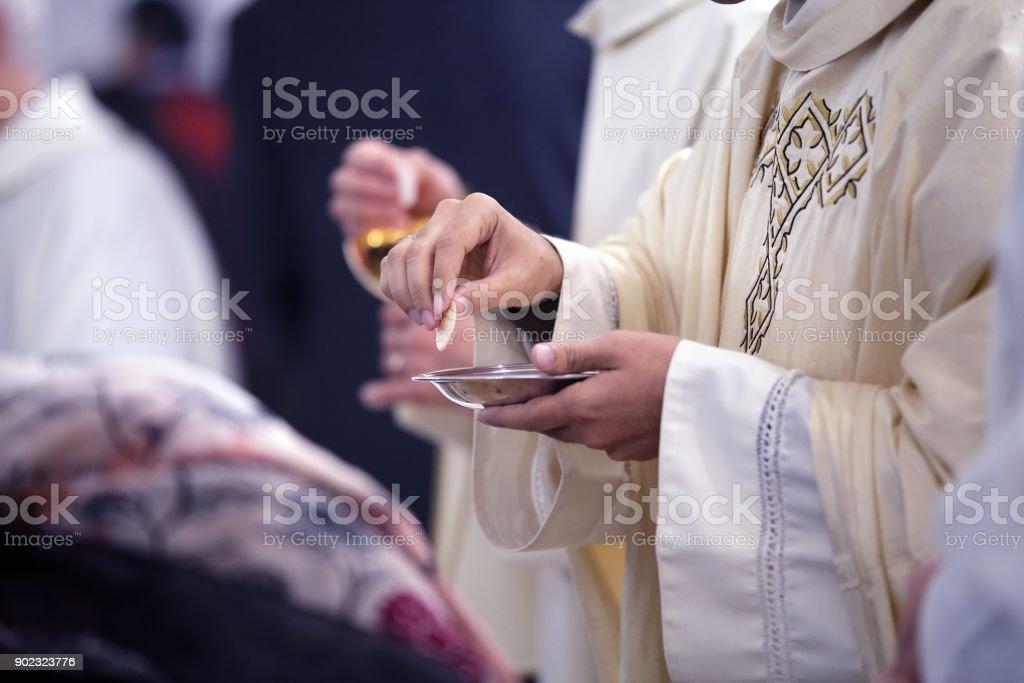Sacrament of communion stock photo