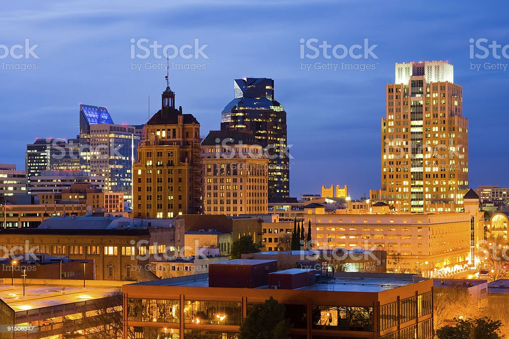 Sacramento at night stock photo