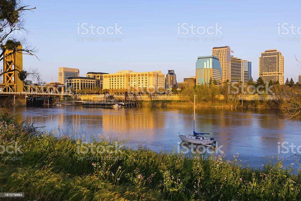 Sacramento at sunset stock photo
