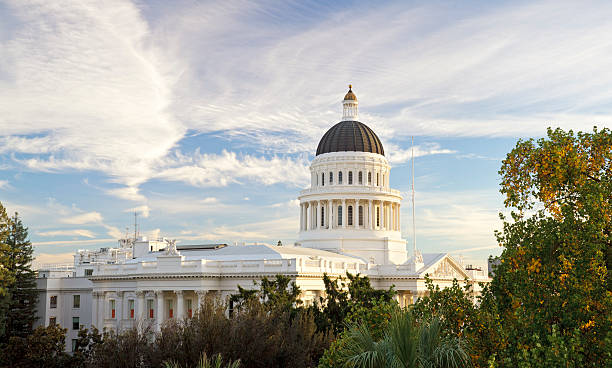 Sacramento, California capitol building The state capitol building in Sacramento, California, shortly before sunset (stitched from multiple photos). state capitol building stock pictures, royalty-free photos & images