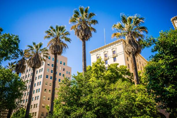 sacramento california city skyline and street views stock photo