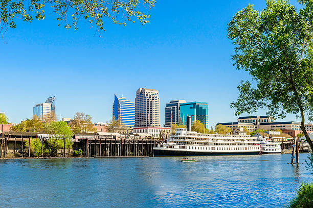 Sacramento California skyline, cityscape, riverfront, river. State Capital. stock photo