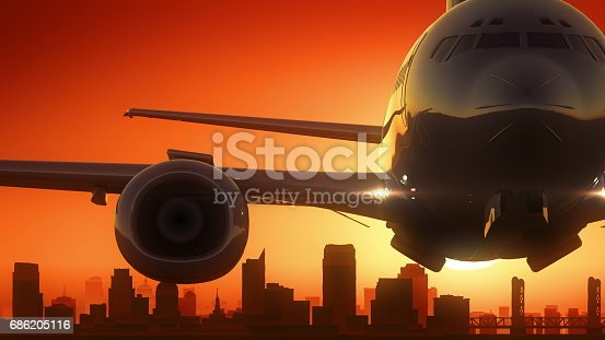 istock Sacramento California USA America Skyline Sunrise Take Off 686205116