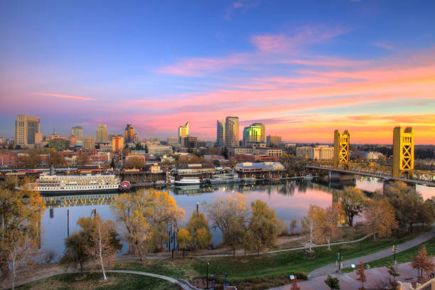 Sacramento City Scape Downtown Sacramento capital cities stock pictures, royalty-free photos & images