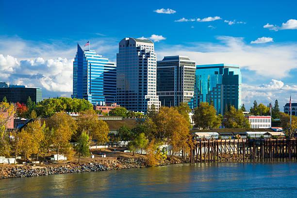 Sacramento downtown skyline during Autumn stock photo