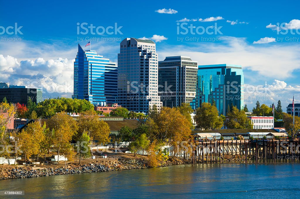 Sacramento downtown skyline during Autumn stock photo