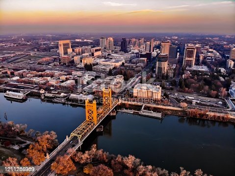 Drone shot of Sacramento