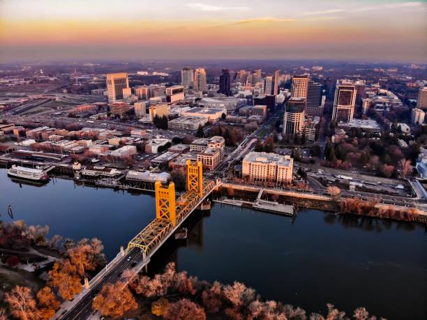 Sacramento from Above Drone shot of Sacramento central london stock pictures, royalty-free photos & images
