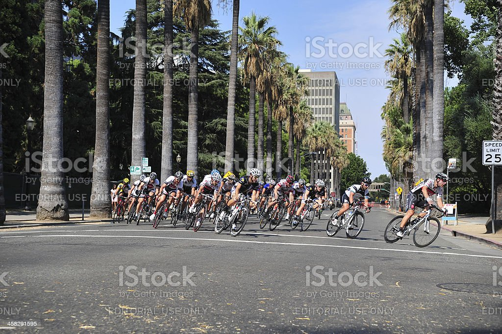 Sacramento Grand Prix cyclists speed around course royalty-free stock photo