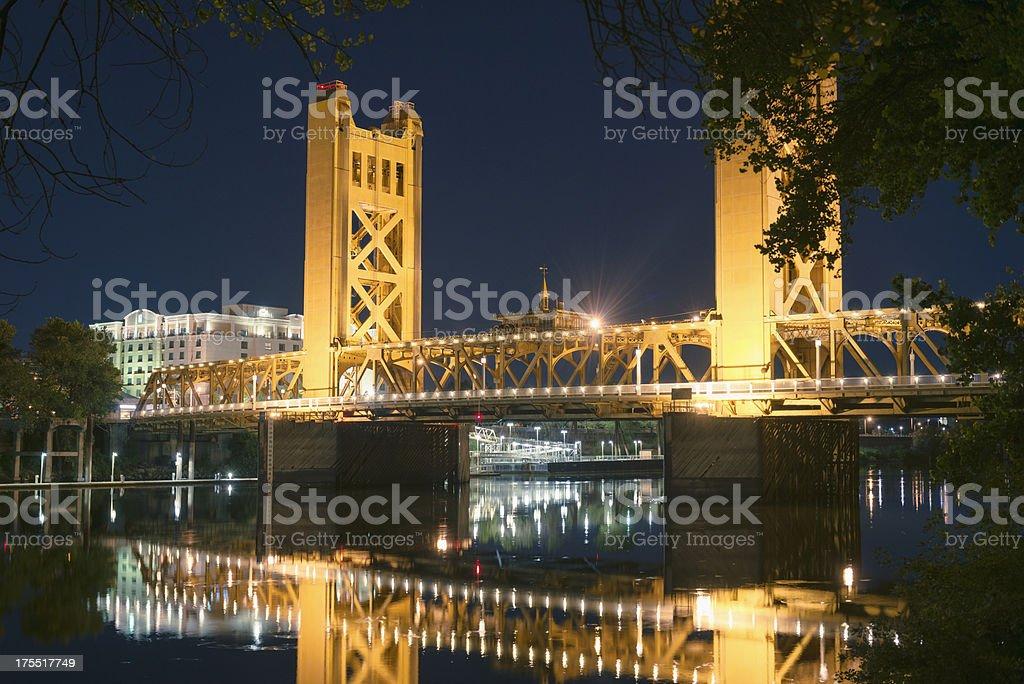 Sacramento river with the bridge stock photo