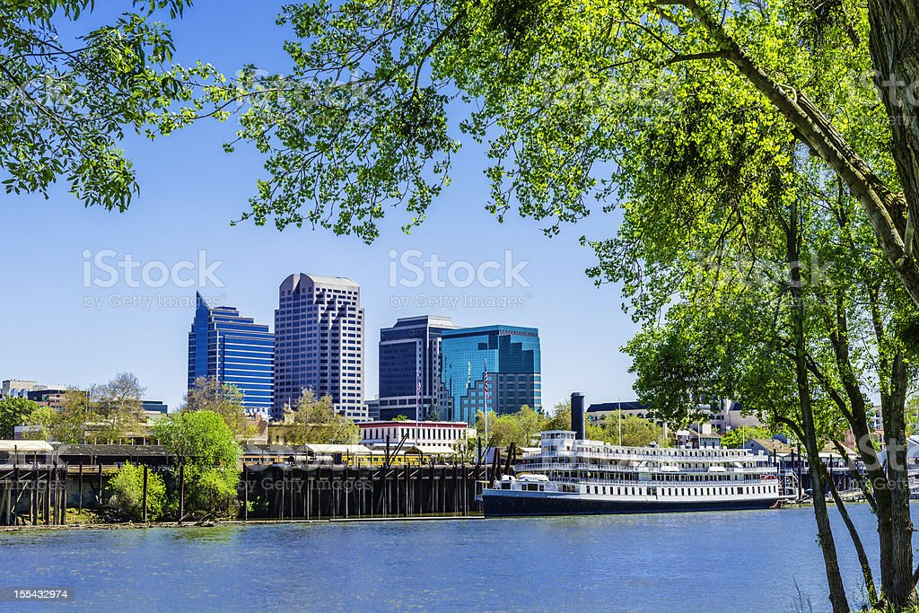 Sacramento skyline and riverfront stock photo