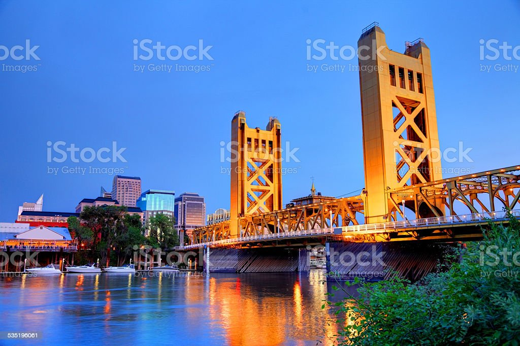 Sacramento Skyline and the Tower Bridge at night stock photo