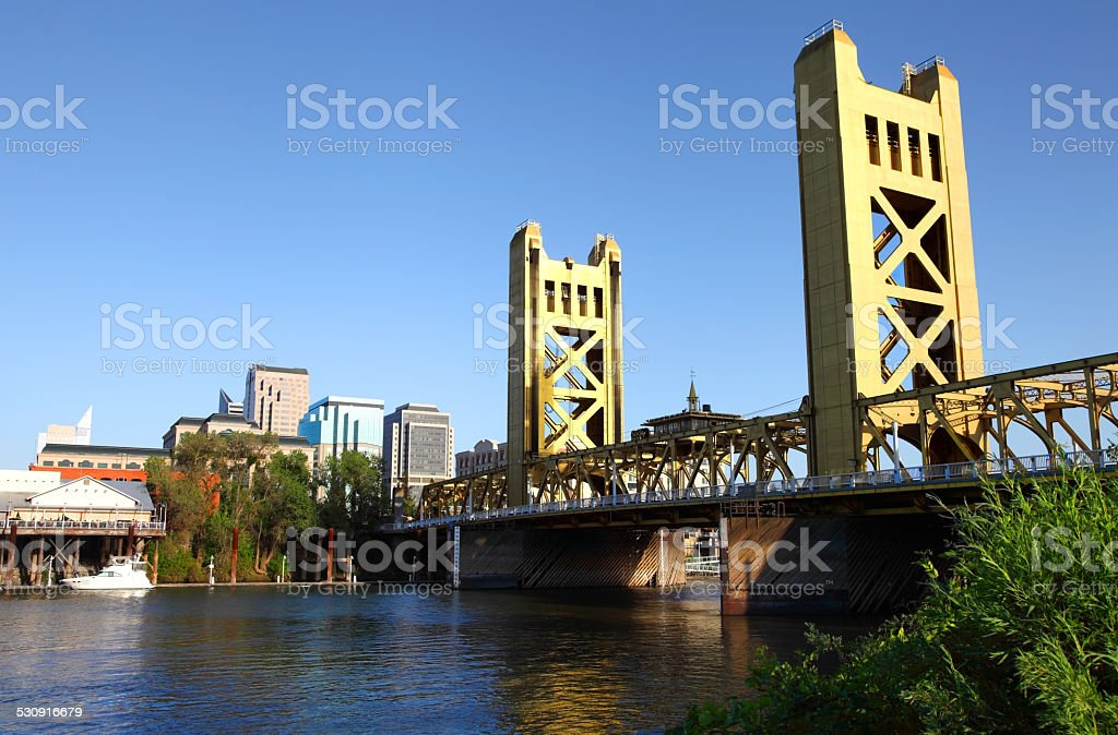 Sacramento Skyline and the Tower Bridge stock photo