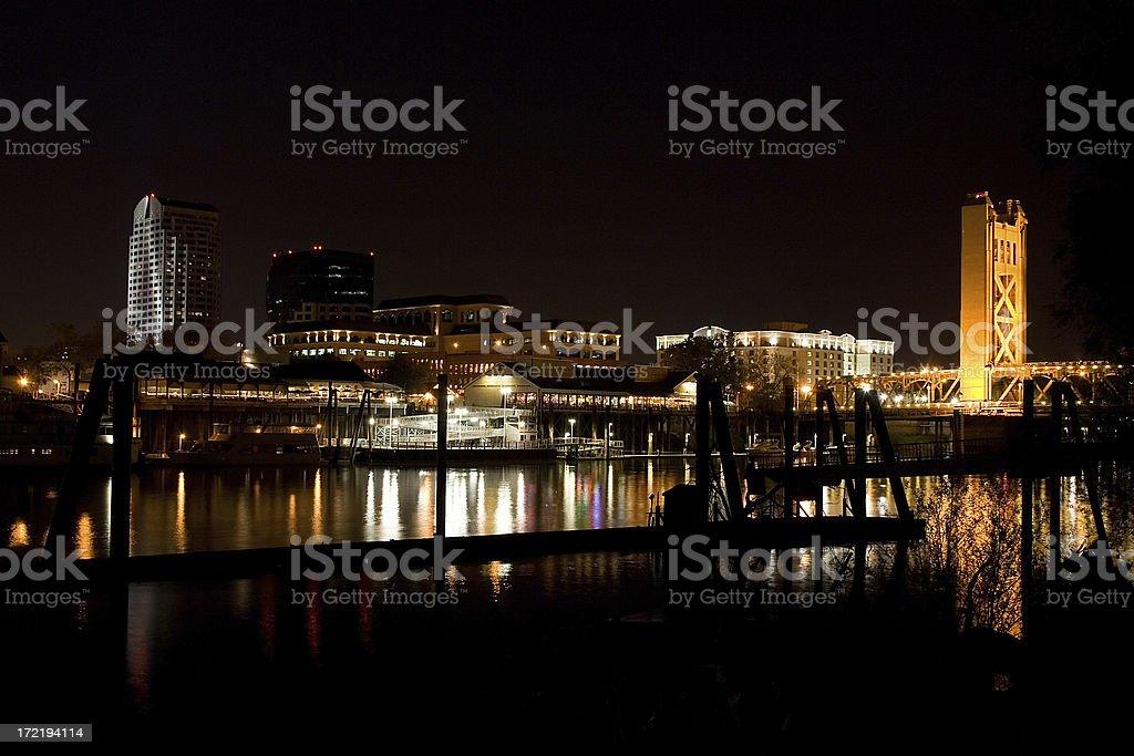 Sacramento skyline at night. royalty-free stock photo